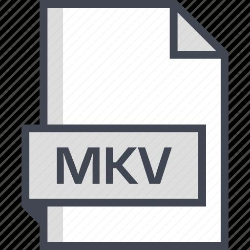 document, extension, mkv, name icon