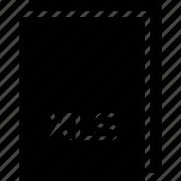 extension, file, name, type, xls icon