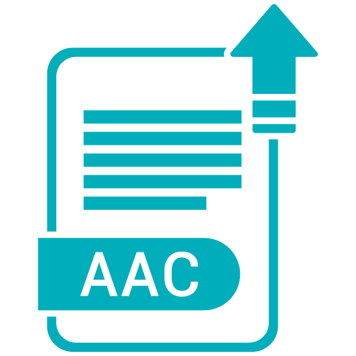 aac, extension, file, format, paper icon