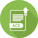 ace, document, extension, file, file format, type icon