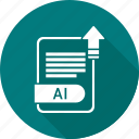 ai, extension, file, format icon
