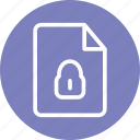 encrypted file, padlock, private file, secure, secure file, security icon