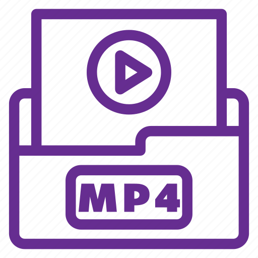 color, extension, file type, format, movie, mp4, video icon