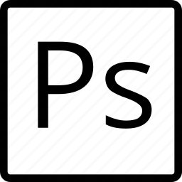 adobe, file, photoshop, square, type icon