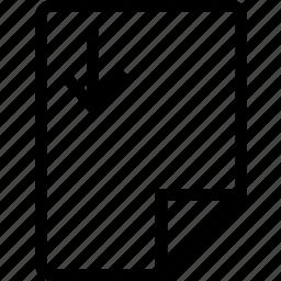 arrow, down, file, move, paper icon