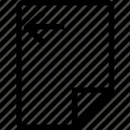 arrow, file, left, move, paper icon