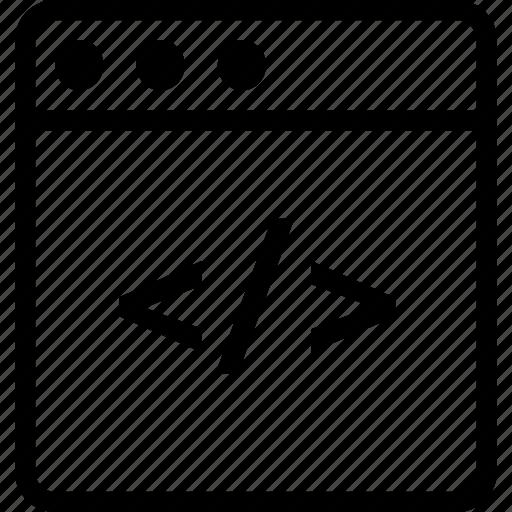 brackets, browser, code, display, window icon