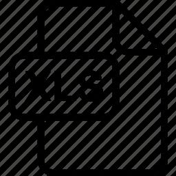 file, paper, sheet, type, xls icon