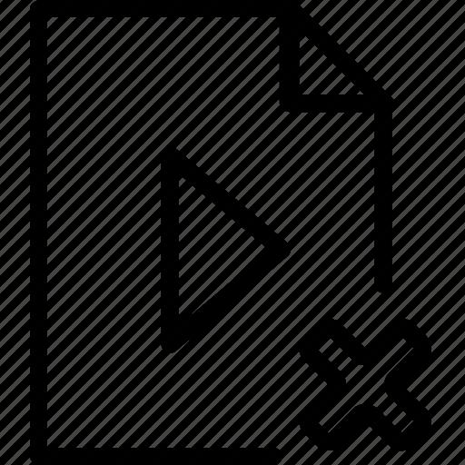 arrow, cancel, file, media, play, remove, type icon