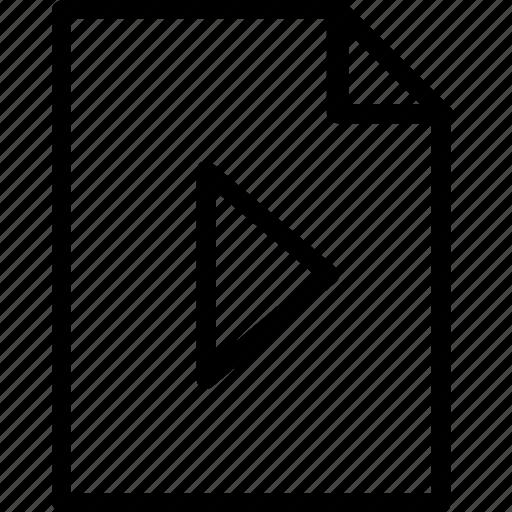 arrow, file, media, plain, play, type icon