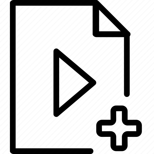 add, arrow, file, media, play, plus, type icon