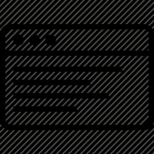 browser, content, description, display, window icon