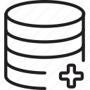 add, cylinder, layers, plus, shape icon
