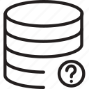 cylinder, layers, mark, question, shape icon