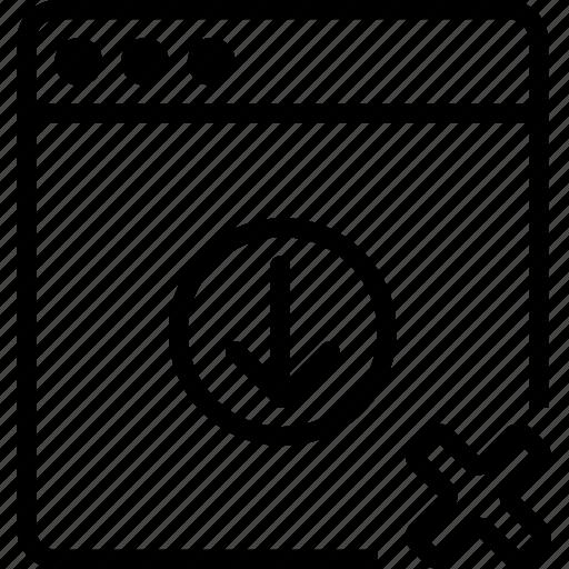 arrow, browser, cancel, down, explorer, internet, remove icon