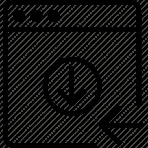 arrow, browser, down, explorer, internet, left icon