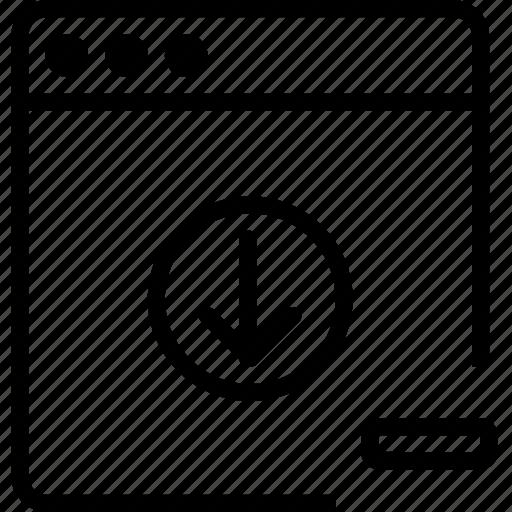 arrow, browser, down, explorer, internet, minus, remove icon