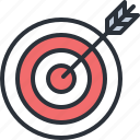 bullseye, business, game, objective, plan, strategy, target icon