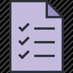 check, compete, doument, file, list, paper, task icon