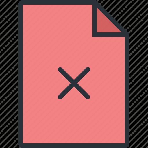 cancel, cross, delete, document, file, paper, remove icon
