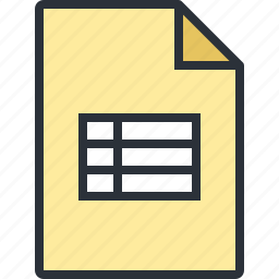 document, file, office, paper, table icon