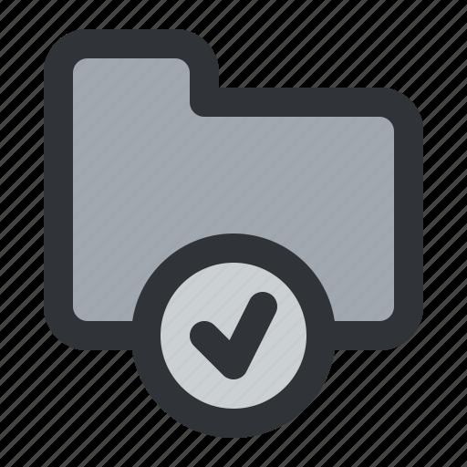 check, documents, files, folder, storage, verified icon