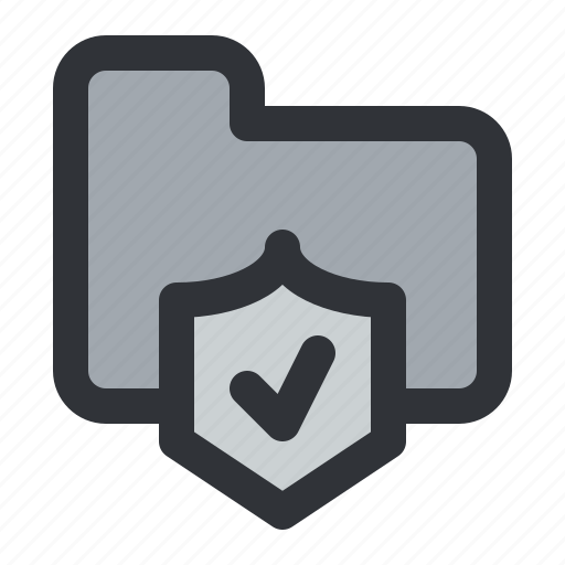 check, documents, files, folder, shield, storage, verified icon
