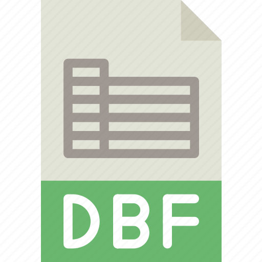 dbf, download, extension, file, format, type icon