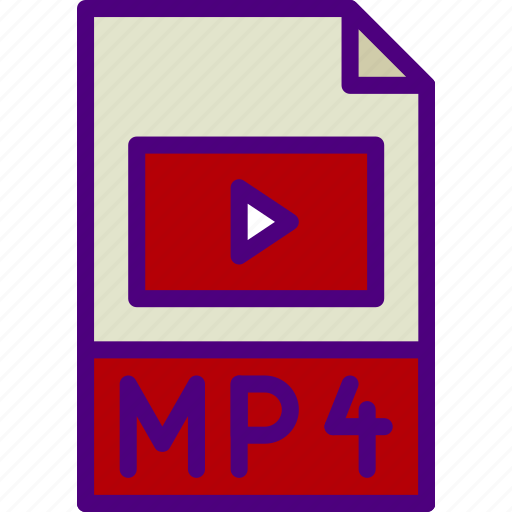 download, extension, file, format, mp4, type icon