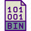 bin, download, extension, file, format, type icon