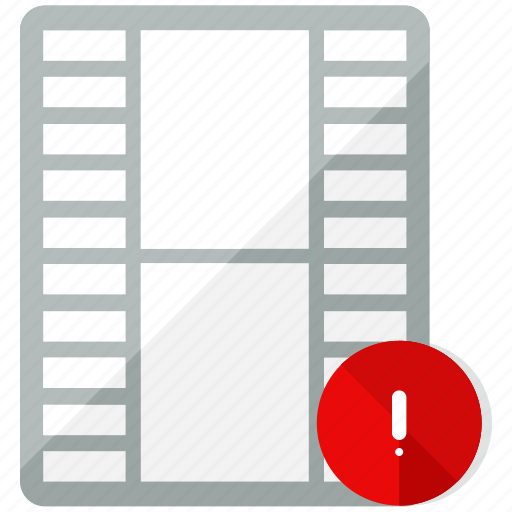 alert, files, media, multimedia, video, warning icon