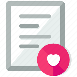 document, documents, favourite, file, files, heart icon