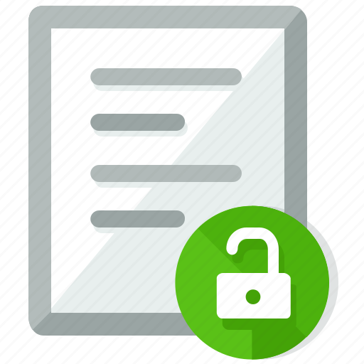 document, documents, file, files, security, unlock icon