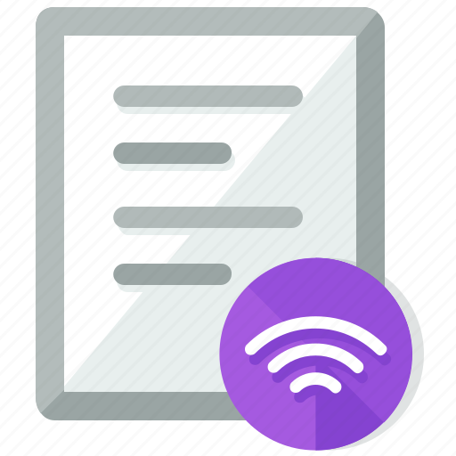 document, documents, file, files, share, wifi icon
