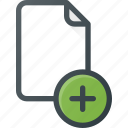 add, documen, file, paper icon