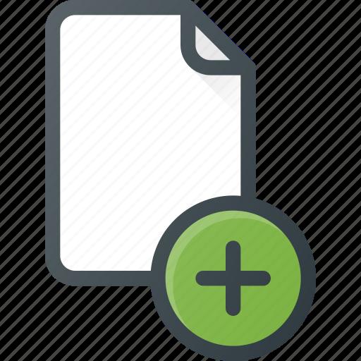 add, documen, file, paper icon