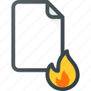 burn, documen, file, fire, paper icon