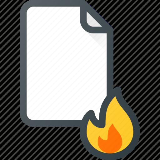 burn, documen, file, fire, paper icon