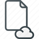 cloud, documen, file, paper icon