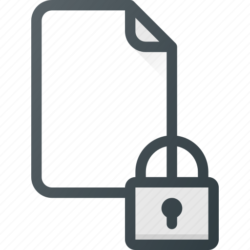 documen, file, lock, paper, secure icon