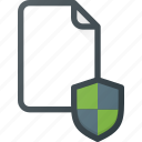 documen, file, paper, protection, shield icon