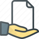 documen, file, hand, hold, paper, share icon
