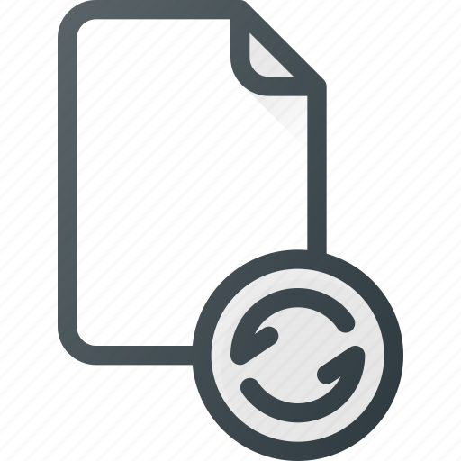documen, file, paper, refresh, reload, syncronize icon