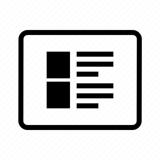 document, file, image, magazine, slide, table, text icon