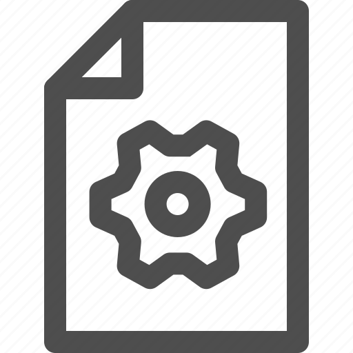 cogwheel, document, file, fixing, gear, processing, settings icon