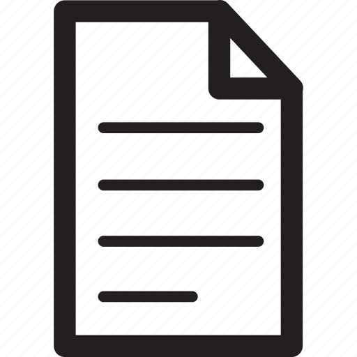 document, file, lines, page, text icon