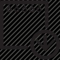arrow, down, move, note icon