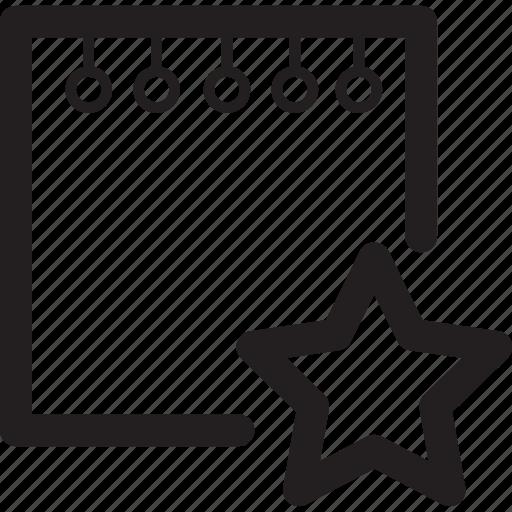 bookmark, favourite, file, note, star icon