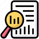 chart, file, magnify glass, report, searching icon