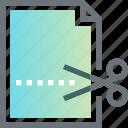cut, document, file, office, paper, scissors, sheet icon